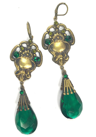 Vintage 1920s Emerald Green and Gilt Glass Earrings