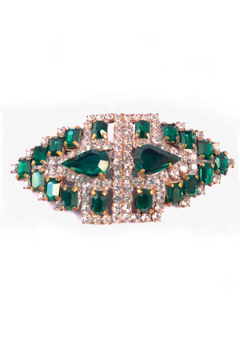 Deco Style Emerald and Clear Crystal Brooch - Sold