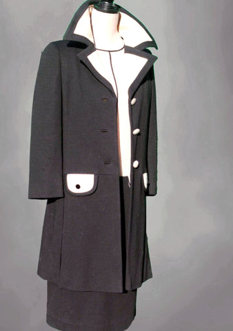 1960s Black and Cream Wool Lilli Ann Ensemble - Sold