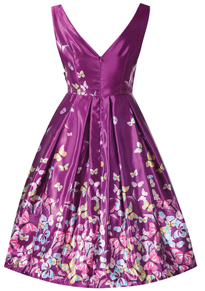 Recreation of 1950s Merlot Floral Butterfly Party Dress - New!