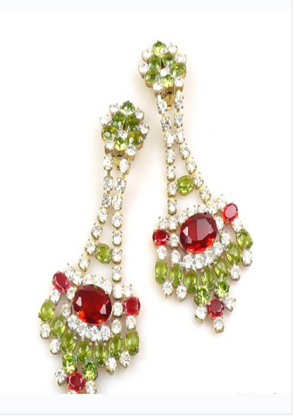 Garnet and Olivine Green Crystal Earrings - Sold!