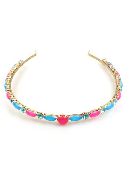 Pink and Blue Neon Glass Czech Headband