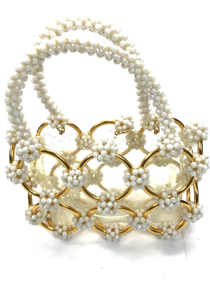 Vintage 1960s Translucent Pearl Beaded Handbag - New!