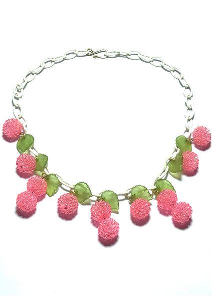 Vintage 1940s Art Deco Pink Lucite & Celluloid Fruit Necklace - New!