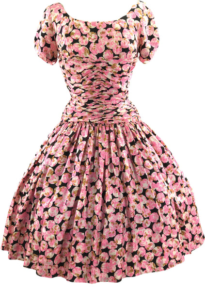Vintage 1950s Pink and Black Rose Floral Silk Day Dress - New!