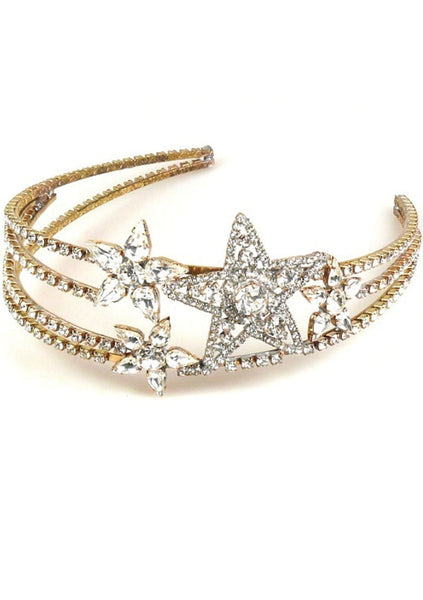 Striking Czech Clear Crystal Stars Headband - New!