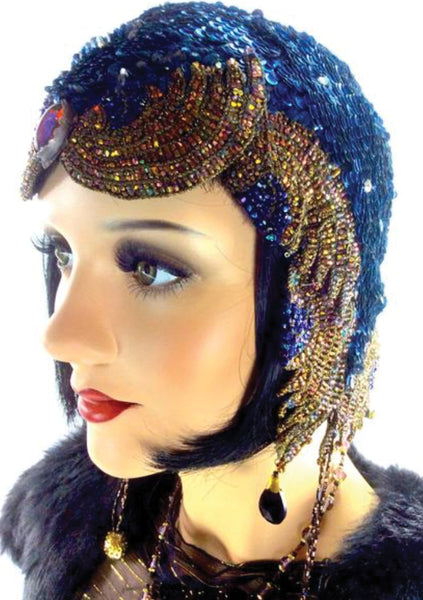 Vintage 1920s Blue Sequin + Coloured Glass Cloche Headpiece