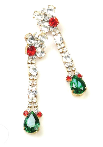 Vintage Clear, Emerald and Ruby Crystal Czech Earrings
