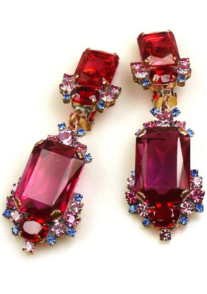 Raspberry, Pink and Blue Glass Crystal Czech Earrings