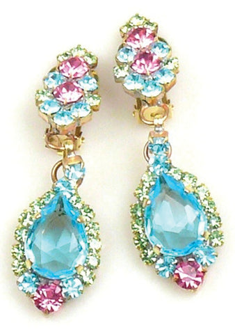 Charming Blue Floral Crystal Drop Earrings - New!
