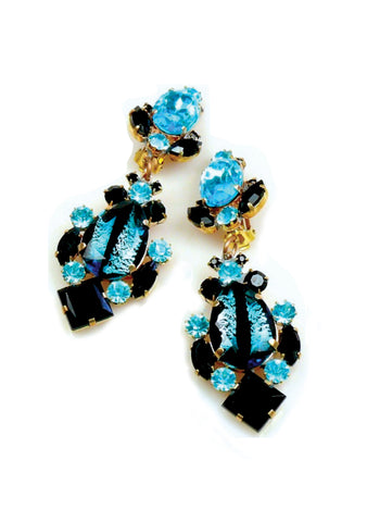 Aquamarine and Onyx Glass Crystal Earrings
