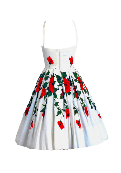 Vintage 1950s Red Roses Pique Cotton Dress  - New!