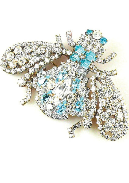 Imposing Aquamarine & Clear Bumble Bee Brooch - New!