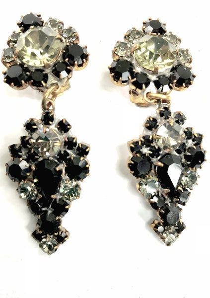 Classic Onyx and Clear Crystal Drop Earrings - New!