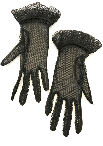 Lovely 1950s Black Nylon Mesh Gauntlet Gloves - New