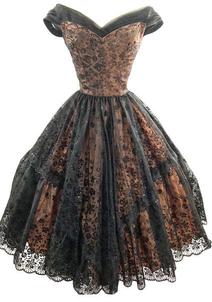 Breathtaking 1950s Black Flocked Glitter Nylon  Party Dress - New!