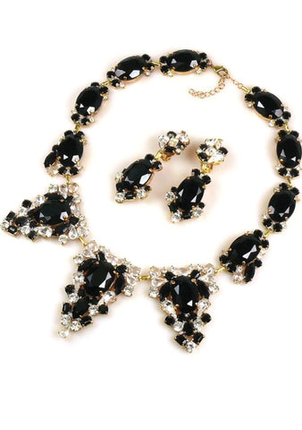 Classic Onyx and Clear Crystal Necklace & Earrings Set - New!