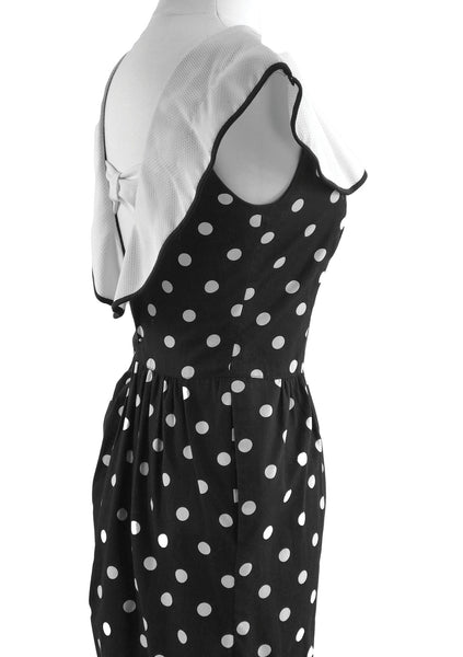 Vintage 1980s Black & White Spots Cotton Day Dress - New!