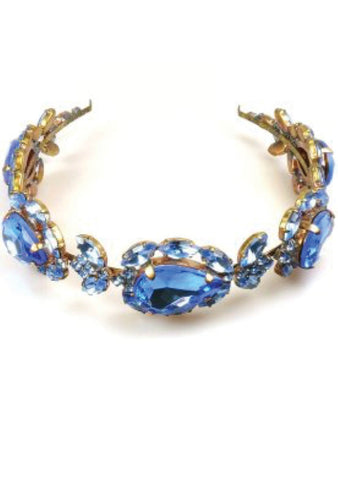 Beautiful Sapphire Blue Glass Crystal Headband - New!