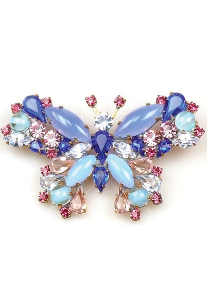 Lovely Amethyst and Sapphire Butterfly Brooch - New!
