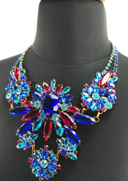 Spectacular Sapphire and Ruby Glass Crystal Czech Necklace