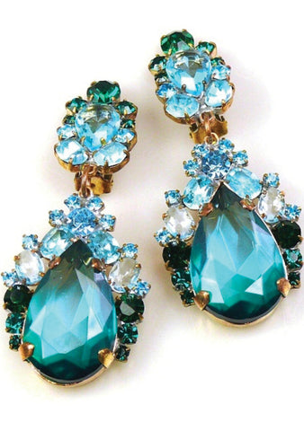 Aquamarine, Sapphire and Emerald Crystal Earrings - New!
