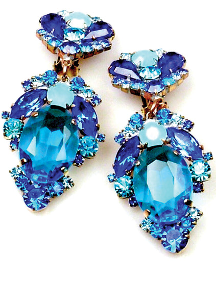 Stunning Czech Sapphire Blue and Aqua Glass Crystal Earrings - New!