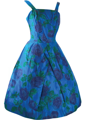 Vintage Late 1950's Sapphire Blue Roses Party Dress  - New!