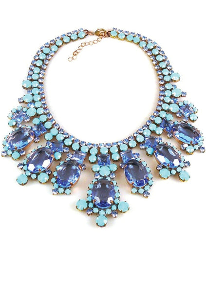 Superb Large Sapphire Blue & Turquoise Czech Necklace