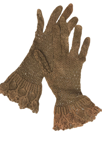 Vintage 1940s Brown Crochet Cotton Gloves