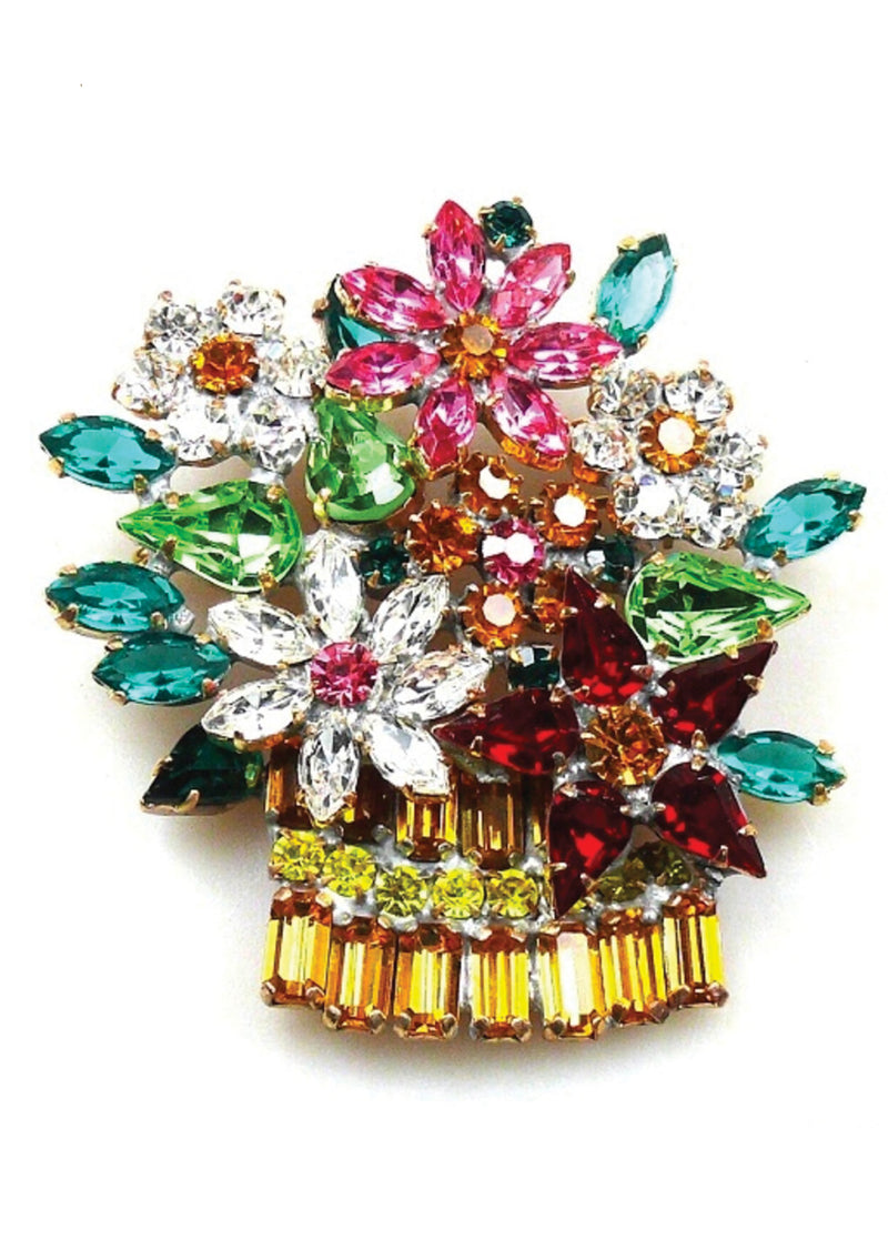 Beautiful Large Czech Flower Crystal Brooch -  New