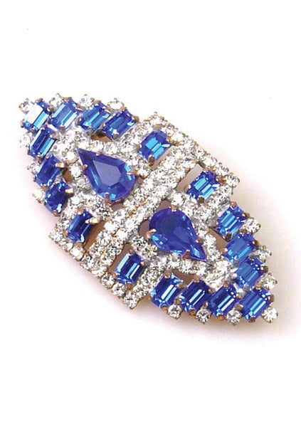 Deco Style Sapphire and Clear Crystal Brooch - New!