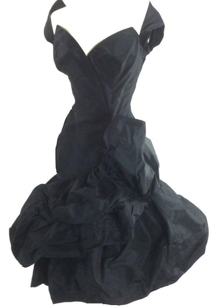 Vintage 1950s Black Draped Couture Cocktail Dress - New!