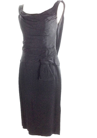 Vintage 1950s Designer Black Jersey Fitted Party Dress