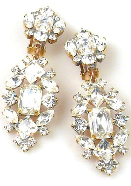 Wonderful Czech Classic Clear Crystal Earrings - New!