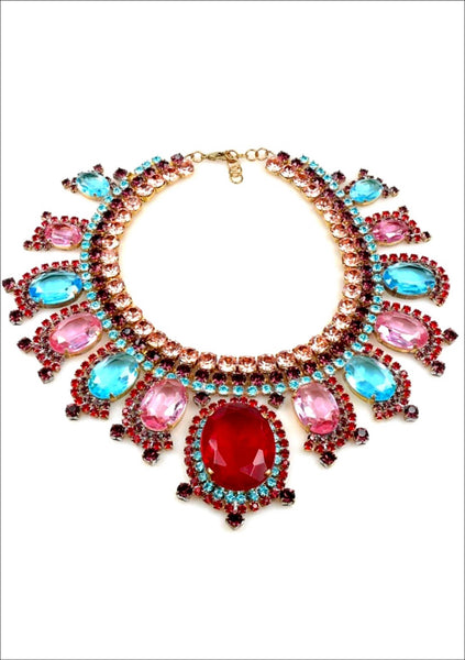 Dramatic Czech Ruby Amethyst and Fuchsia Large Necklace