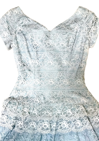 Vintage 1950s Graduated Blue Lace Dropped Waist Dress