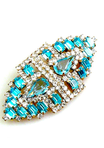 Deco Style Aqua and Clear Crystal Brooch-Sold