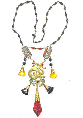 Vintage 1920s Oriental Dragon Necklace-New! (ON HOLD)