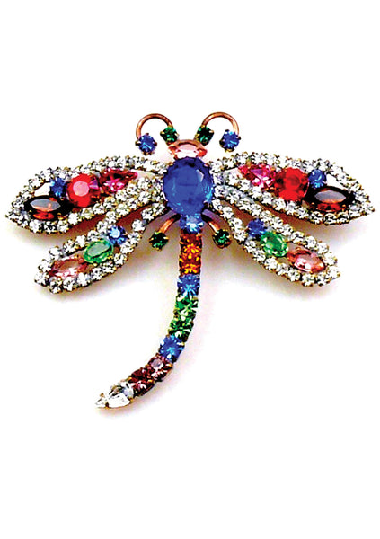 Beautiful Multi-Coloured Czech Dragonfly Brooch - New!