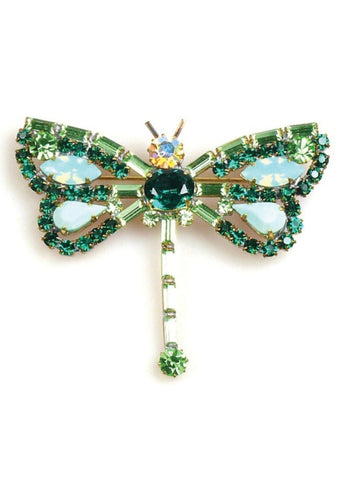 Czech Emerald and Jade Crystal Dragonfly Brooch - New!