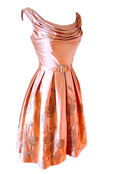 1950's Pink Draped & Embroidered Satin Party Dress - New!