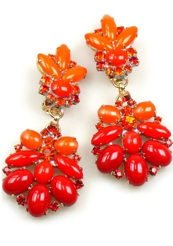 Striking Coral and Tangerine Opaque Glass Czech Earrings