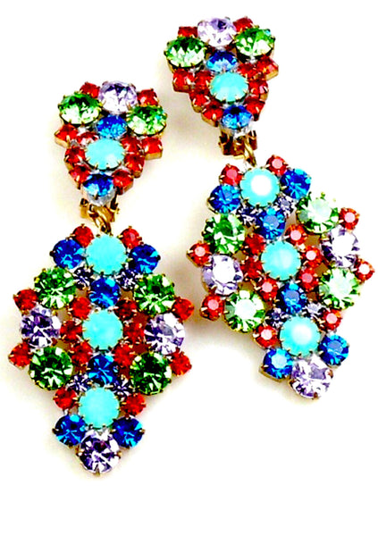 Jade Czech Earrings with Multicolour Glass Stones