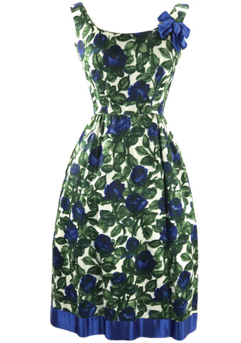 Vintage Designer Early 1960s Blue Roses Silk Dress  - New!