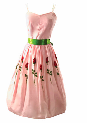 1950's -1960s Pink Roses Cotton Sun Dress  - New!