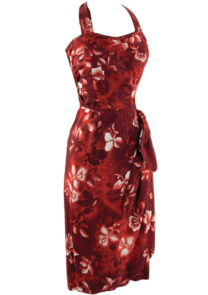 Vintage 1950s Red Hibiscus Sarong Dress  - New!