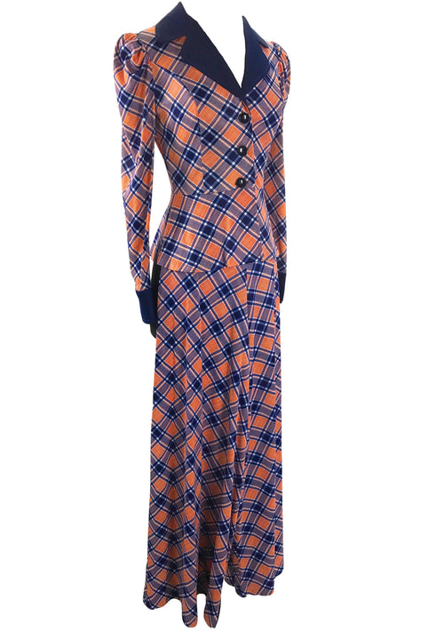 Vintage 1970s Pink and Navy Plaid Pants Suit - New