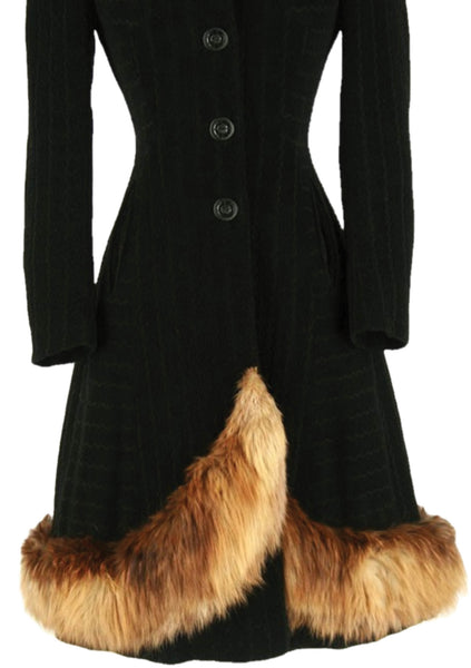 Late 1930s - Early 1940s Black Wool Coat with Fur Trim - New!