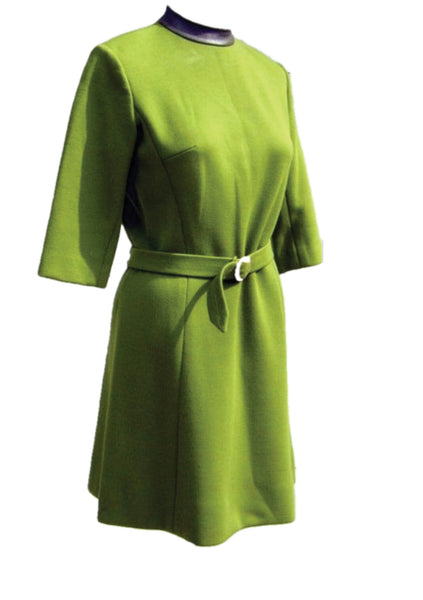 Designer Mod 1960s Green Dress and Coat Ensemble - New!